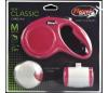 flexi набор (рулетка NEW Classic М (до 20 кг) трос 5 м + LED фонарик + Multi-box) красный